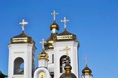 Golden domes Svyatogo Nikolaya Chudotvortsa. Golden domes Svyatogo Nikolaya Chudotvortsa in Chernigov Royalty Free Stock Photos