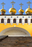 Golden domes of Upper Saviour's Cathedral and Terem Churches Royalty Free Stock Photo