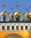 Golden domes of Upper Saviour's Cathedral and Terem Churches Royalty Free Stock Image