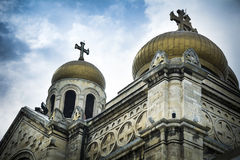 Golden domes of Varna cathedral in Bulgaria Stock Images