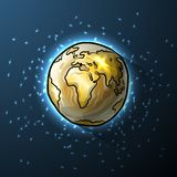 Golden doodle globe in space Stock Photography