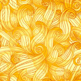 Golden doodle hair abstract seamless pattern Stock Photography