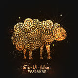 Golden Doodle style Sheep for Eid-Al-Adha. Illustration of golden glittering Sheep and Cleaver Knife in floral doodle pattern style on sparkling brown Royalty Free Stock Photo