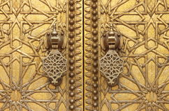 Golden door knockers. The golden door knockers of the Royal Palace in Fes, Morocco Royalty Free Stock Images