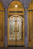 Golden door in Topkapi palace in Istanbul. ,the old palace in istanbul,Turkey,September 2014 Royalty Free Stock Photos
