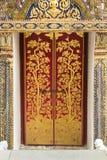 Golden door at wat pra kaew. Grand Palace of Thailand Royalty Free Stock Image