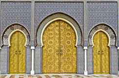 Golden doors of Fez Royal Palace Stock Photography