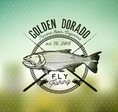 Golden Dorado Fishing emblem on blur background. Vector Illustration. Fishing labels, badges, emblems and design elements. Illustrations of Dorado Stock Photos