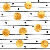 Golden dots and black stripes background Stock Image