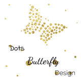 Golden dots butterfly design template. Golden shine dots butterfly design template on white royalty free illustration