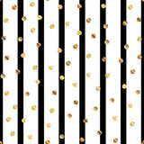 Golden dots pattern on black and white striped. Golden dots pattern on black and white striped background. Classy gradient golden dots endless random scattered stock illustration