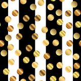 Golden dots pattern on black and white striped. royalty free illustration