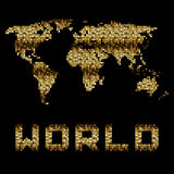 Golden dotted world map Stock Photo