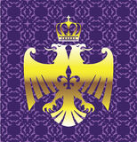 Golden Double headed Eagle Royal Logo with a Crown Purple Background Vector Art Royalty Free Stock Photo