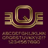 Golden double line letters and numbers with initial monogram. With wings. Beautiful presentable font kit for logo design Stock Image