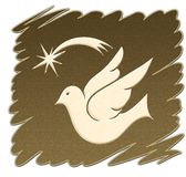 Golden dove. Dove christmas star on a golden background Royalty Free Stock Images