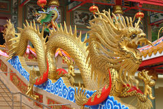 Golden dragon. On staircase rial at temple,thailand stock photo