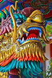 Golden dragon. Decorate on the pole of spirit ritual hose of Chinese in Thailand Royalty Free Stock Images