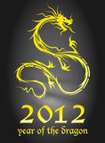 Golden dragon. 2012 year of the dragon poster (EPS10 - Gradient, Transparency Stock Photos