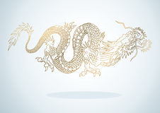 Golden Dragon. Illustration of golden dragon in the Asian style Royalty Free Stock Photo