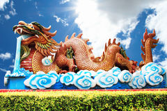 Golden dragon and blue sky Stock Photography