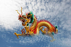 Golden dragon. On the  blue sky Stock Image
