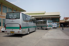 Golden Dragon Bus of Greenbus Company. Route Between Chiangmai. CHIANG MAI, THAILAND -MAY 1 2017:  Golden Dragon Bus of Greenbus Company. Route Between Chiangmai Stock Photos