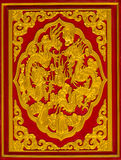 Golden dragon carved Stock Photo