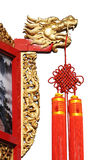 Golden dragon with chinese knot Stock Photography