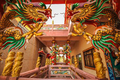 Golden dragon in Chinese shrine Royalty Free Stock Photo