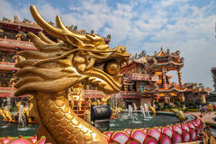Golden dragon in Chinese shrine Stock Images