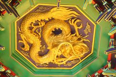 A golden dragon in chinese style. Stock Photography