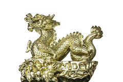 Golden dragon in Chinese Style. Chinese golden dragon sculpture with white background (isolated Stock Image