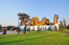 Golden dragon in chinese style Stock Photo