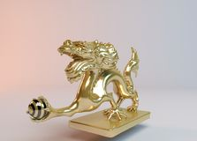 Golden dragon. Golden 3d dragon catching the ball of power inside a white stage Royalty Free Stock Images