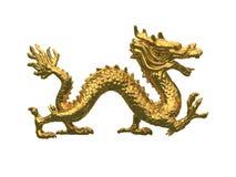 Golden dragon. 3D golden dragon model on white background Royalty Free Stock Photo