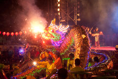 Golden dragon dancing in Chinese New Year. Stock Photography