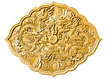 Golden dragon decorated on red wood Stock Photo