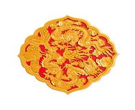 Golden dragon decorated on red wood Stock Images