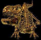 Golden Dragon Dinosaur skeleton. Golden metallic dinosaur skeleton. Black background stock illustration