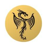 Golden dragon fly vector illustration. Stock Images