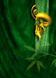 Golden dragon on green cloth background Royalty Free Stock Photos