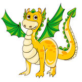 Golden Dragon with green wings. Vector illustration Stock Photos