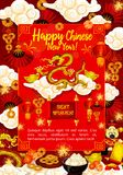 Golden dragon greeting card for Chinese New Year. Golden dragon greeting card for Chinese Lunar New Year. Asian Spring Festival dragon, lantern and fan, god of Royalty Free Stock Image