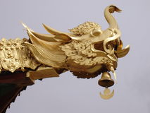 Golden Dragon Head. Gargoyle decorating the corner of an ancient Buddhist temple in China Royalty Free Stock Photo
