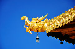 Golden Dragon Head  with Blue Sky Stock Photo