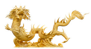 Golden dragon isolated Royalty Free Stock Images