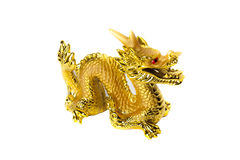 Golden dragon isolated on white background. Golden traditional chinese dragon isolated on white background. Feng Shui statuette Stock Image