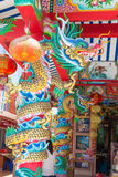 Golden dragon and lantern statue on pole in the temple Stock Images