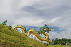 Golden dragon. Large Chinese golden dragon at temple, Thailand Stock Photography